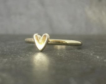 Pure Sweetheart - stacking ring 9ct 9k gold heart ring, promise ring, handmade, UK