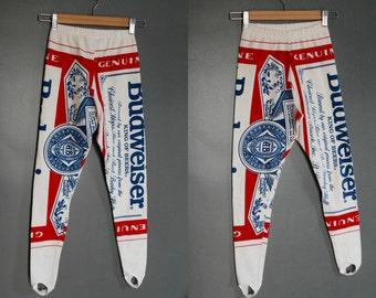 BUDWEISER Vintage Carabella Cotton Stretch Stirrup Leggings 1980s XS/S