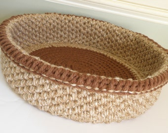 Large Cat Bed, Crocheted Travel Pet Bed Round, 2 Cat Beds in one with Foldable Collar, Large Magazine Storage Basket in Tan Beige with Rust