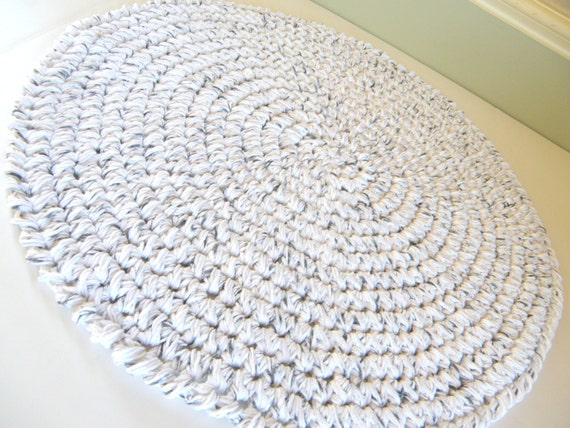 crochet round bath rug thick and plush white by