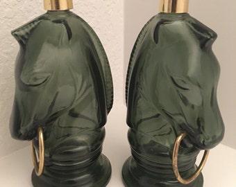 Vintage Green Horse Bottles