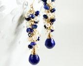 Lapis Lazuli Earrings, Goldfilled wire wrap, royal blue gemstone long cluster earrings, boho, white freshwater pearls, gift for her,3259