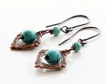 Turquoise Earrings, copper earrings, blue gemstone earrings, dangle earrings, gift for her, everyday jewelry, ER2971
