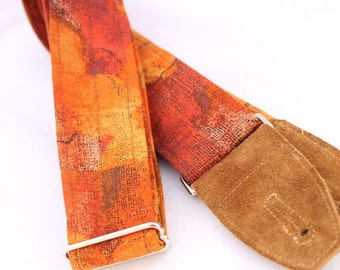Guitar Strap - Harvest - Suede Leather Ends and Pick Pouch