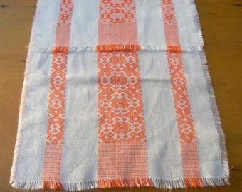 Vintage Orange Off White Table Runner, Retro 1960s 1970s Geometric Pattern Table Runner, Mid Century Woven Table Decoration, Table Topper