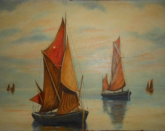 Vintage oil painting of fishing boats