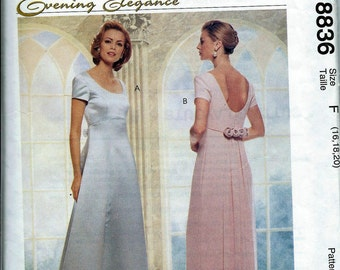 Simplicity 8836 Evening Elegance Misses Lined Dress W/ Detachable Train Pattern, 16-20,   UNCUT