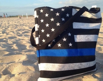 Thin Blue Line Tote Bag - American Flag