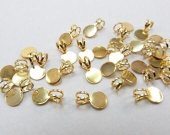 24 pcs Pendant Bails - Gold Tone - Glue on Bail - 6mm Glue Pad