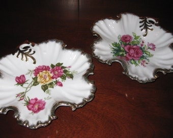 Vintage Pair of Porcelain Flower Shaped Dishes, Ceramic Victorian Floral Plates, Vanity Tray