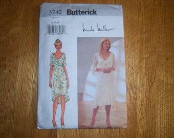 "Butterick 3742 ""Nicole Miller"" Dress Pattern--Size 12-14-16, c2002, UNCUT & FF"