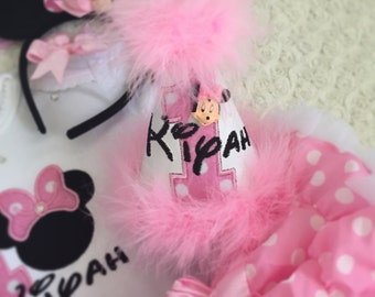 Minnie mouse inspired personalised birthday party hat