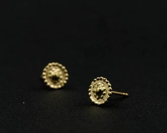 Stud earrings - 14kt gold earrings - gold ear studs - Saule - gold jewelry - solid gold - special jewelry - bridal earrings - ear pins