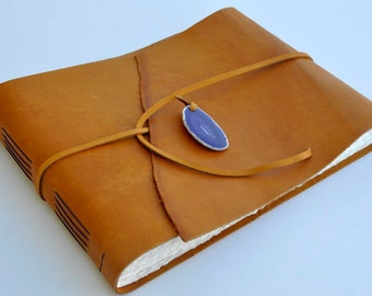 "Handmade Leather Journal 9 1/2"" x 12 1/2"" - 140 lb watercolor paper - Sketchbook"