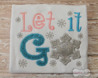 Let it Go Embroidered Shirt or Bodysuit in Pink, Blue & Silver