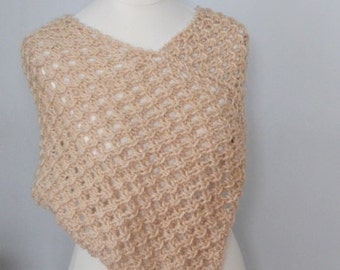 Hand Knitted Beige Poncho/shrug /scarf for Women