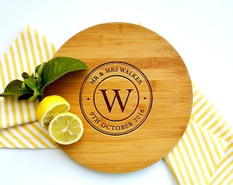 Personalized Cutting Board, Custom Cutting Board, Wedding cutting board, Circle Design