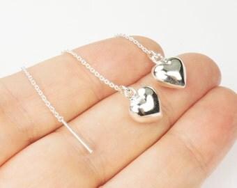 Heart Threader Earrings in Sterling Silver, Puffed Heart on a Sterling Silver chain with a silver bar, Heart Earrings, Threader Earrings,