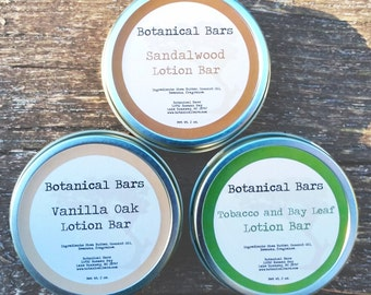 Mens Lotion Bar Set - Three 2oz Lotion Bars in Tin - Men's Lotion Set - Mens Lotion Bars - Holiday Gift - Christmas Gift - Gift for Him