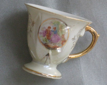 Charming Vintage Pale Yellow and Gold Small Porcelain Tea Cup - Demitasse, Child's Play, Miniature Vase - Display, Storage - Japan