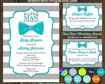 Little Man Baby Shower Invitation - Bow Tie Boy Teal Gray Onesie Free Diaper Raffle Ticket Book Request Card Personalized Printable
