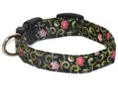 Dog Collar Elegant Flowers on Black Adjustable Collar Quick Ship