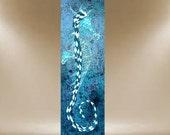 seahorse painting green teal original textured art 36x12 FREE SHIP