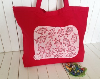 Screen Printed Heavy Canvas Tote bag - Jumbo Red Tote - Market Tote Bag - Eco Friendly Reusable Grocery bag - Hawaii Illustration fish&cat