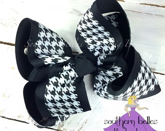 Big Houndstooth Bow, Big Southern Bow with Houndstooth, Houndstooth Hair Bow, Big Black and White Hair Bow, Big Black Bow, Big White Bow