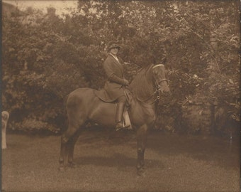 The Golden Age - Vintage 1920s Equestrian and Morgan Horse Chocolate Sepia Portrait Photograph