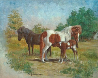 Goodwine Ponies - Vintage 1970s Artist-signed Blank Note Cards, Set of Four
