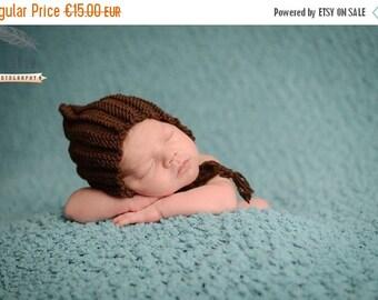 SALE 20%OFF Newborn Pixie Photo Prop Bonnet hat- Prop Newborn Hat- Ribbed Bonnet Hat- Knit Baby Hat-Many color choices