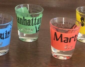 COMPLETE SET - Mid Century Shot Glasses