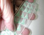 No. 100 Vintage French Mint Green and White Edging/insertion Lace