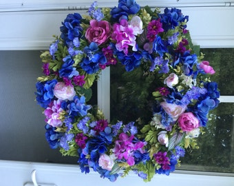 Blue & Orchid Hydrangea with Phlox and Ranunculus Wreath