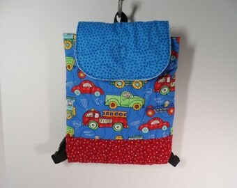 Toddler boys back pack, quilted cars and trucks  backpack for preschool boys, tote for boys
