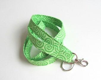 Id Badge Lanyard Green Key Holder, Keychain Fabric Lanyard