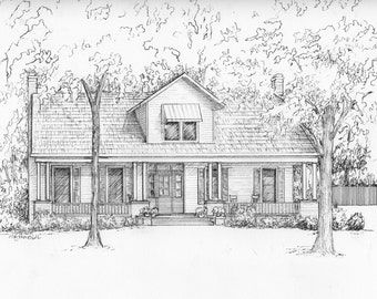 Custom house portrait - 5 x 7 Ink drawing of your home or business Architectural illustration of your home or business Personalized artwork