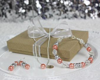 Coral and Gray Personalized Bridesmaid Jewelry Set Bridesmaid Gift, Personalized Wedding Jewelry, Necklace, Earrings, and Bracelet