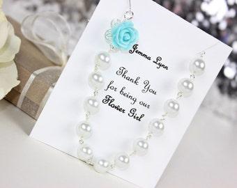 Aqua Blue Flowergirl Rose Pearl Necklace, Flowergirl Necklace, Flowergirl Gift, Flowergirl Jewelry, Wedding Jewelry, Wedding Gift