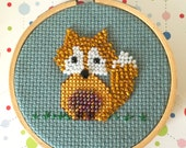 Hand Beaded Fox Decor - Mini Embroidery Hoop Fox - Nursery Decor - Playroom Picture - Cross Stitch Picture - Beaded Fox - New Baby Gift