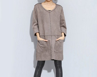 Woman Dress Winter Dress Punk Dress Rivet Dress Oversize Tshirt #D11