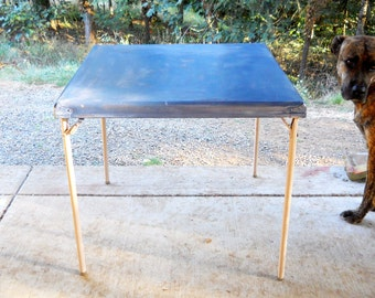 Vintage 1960s Folding Collapsible French Country Blue Distressed Craft Card Table / Side Lamp Tea End Table Hollywood Regency Cottage Chic
