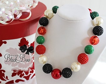 PINE CONES Christmas Chunky Necklace, Red Black Green & Ivory Beads Child, Toddler or Baby Size Bubblegum Gumball Girls Beaded Necklace