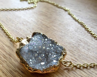 Gold dipped druzy necklace / raw crystal necklace / galaxy necklace / druzy necklace