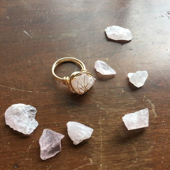 Rose Quartz Ring / Raw Quartz Ring / Raw By TheFaintofHeart