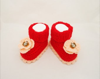 Baby Booties, Cute Baby Booties in Red, Red Baby Booties with Flowers, Handknitted Baby Booties