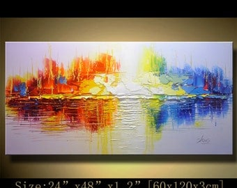 Abstract Wall Painting, expressionism Textured Painting,Impasto Landscape Painting  ,Palette Knife Painting on Canvas by Chen mm01
