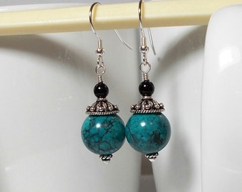 Chinese Turquoise Stone With Sterling Silver Dangle Earring Turquoise Earring Sterling Silver Earring