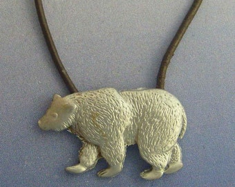 Bear pendant amulet 925 sterling silver necklace charm